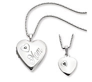 Sterling Polished Mom Heart Locket & ChildsPendant Set - J312082