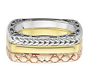 Simply Stacks Sterling Tri-Color Square Ring Set - J314582