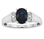 1.55 ct tw Oval Sapphire & Diamond Accent Ring,14K White Gold - J315982