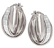 VicenzaSilver Sterling 1 Baguette Pave Glitter Triple Hoop Earrings - J317182