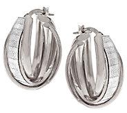 VicenzaSilver Sterling 1 Baguette Pave Glitter Triple Hoop Earrings - J317182
