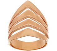 Bronze Polished Chevron Design 4-Row Tapered Band Ring by Bronzo Italia - J318082