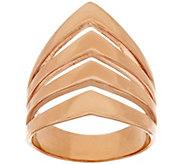Bronze Polished Chevron Design 4-Row Tapered Band Ring by Bronzo Italia - J318082
