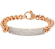 Bronze Pave Crystal ID Curb Link Bracelet by Bronzo Italia - J318382
