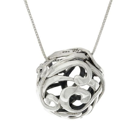 "Hagit Sterling Silver OpenWork Pendant on 32"" Chain"