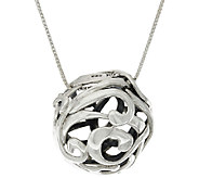 Hagit Sterling Silver Openwork Ball Pendant on 32 Chain - J320182