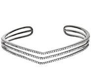 Italian Silver Sterling Triple Chevron 2.0cttw Diamonique Bangle - J321482
