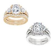Diamonique 2.95 cttw 100-Facet 2-pc. Bridal Ring Set - J322682