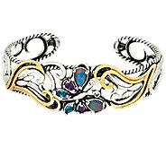 Carolyn Pollack Gemstone Butterfly Sterling/Brass Cuff - J324182