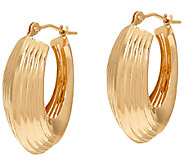 14K Gold Ribbed Polished Oval Hoop Earrings - J324382