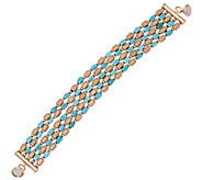 As Is Bronzo Italia Turquoise & Brushed Satin Nugget Bracelet - J327282