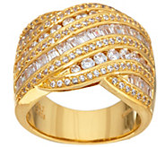 Diamonique 4.35 cttw Multi Stone Band Ring, Ster or 14K Clad - J328282