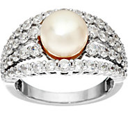 Diamonique Multi-Row Ring w/ Cultured Pearl, Sterling - J331282