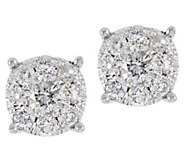 Round Diamond Cluster Stud Earrings, 14K, 3/4 cttw, by Affinity - J333682