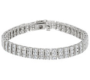 Diamonique Channel Set Bar Bracelet, Sterling or 14K Clad - J335782