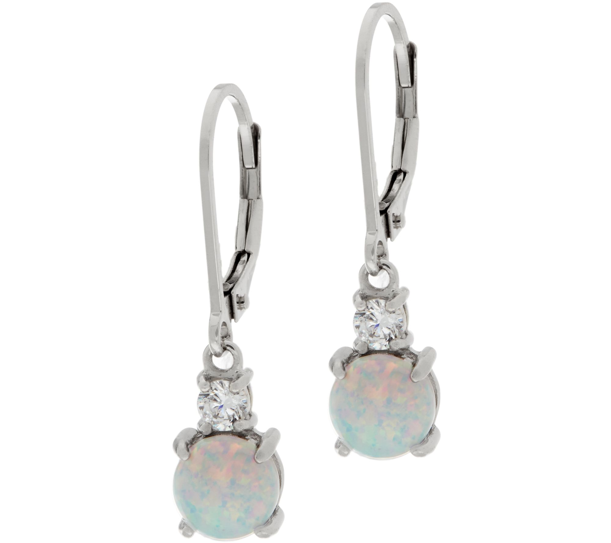 Diamonique And Synthetic Opal Earrings, Sterling  J345982