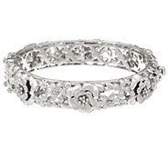 Sterling Silver Floral Hinged Bangle Bracelet by Silver Style 58.2g - J346482