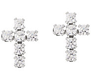 Diamonique Bitty Cross Stud Earrings, 14K Gold - J347082