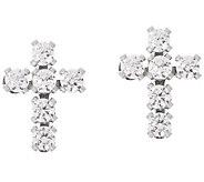Diamonique Bitty Cross Stud Earrings, 14K Gold - J347082