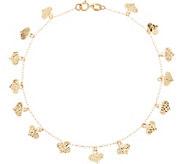 14K Gold 8 Diamond Cut Heart Charm Bracelet - J347482