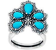 American West Sterling Silver Sleeping Beauty Turquoise Naja Ring - J347782