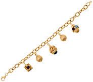 Arte d Oro 7-1/4 Gemstone Charm Bracelet 18K Gold, 22.5g - J349082
