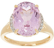 Oval Kunzite & Diamond Ring 14K Gold 5.70 ct - J349282