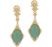 Judith Ripka Sterling & 14K Clad Jade Drop Earrings - J349782