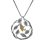 Or Paz Sterling/14K Leaf Pendant with Chain - J351182
