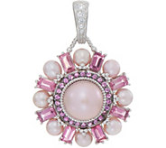Judith Ripka Sterling Pink Cultured Pearl & Gemstone Enhancer - J352282