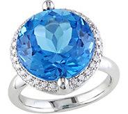 14K 12 ct Swiss Blue Topaz & 1/4 cttw Diamond Cocktail Ring - J377182