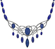 Carolyn Pollack Sterling Drusy & Lapis Statement Necklace - J381282