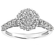 Affinity 14K Gold 3/4 cttw Diamond Round Cluster Halo Ring - J381782