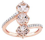 14K Gold 2.55 cttw Morganite & Diamond 3-StoneRing - J382482