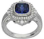 Judith Ripka Sterling Cushion-Cut Sapphire & Diamonique Ring - J383582