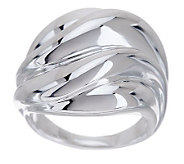 UltraFine Silver Polished Bold Wave Band Ring - J274683