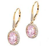 Premier 4.00 ct tw Oval Kunzite & 1/3cttw Diamond Earrings, 14K - J282783