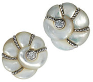 Judith Ripka Sterling Mother-of-Pearl Sea Shell Button Earrings - J284983
