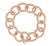 Vicenza Silver Sterling 7-1/4 Pave Crystal Curb Link Bracelet - J288283