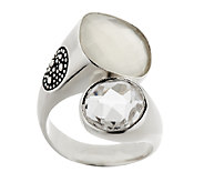 Michael Dawkins Sterling Moonstone and Crystal Statement Ring - J290783