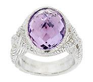 Judith Ripka Sterling 7.0 ct Amethyst & Diamonique Braided Ring - J292083