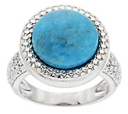 Round Turquoise Diamond Cut Sterling Bold Ring - J292483