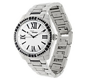 As Is Steel by Design Link Bracelet Watch with Crystal Accent - J294883