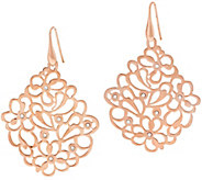 Bronze Floral Openwork Crystal Dangle Earrings by Bronzo Italia - J296683