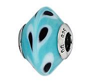 Prerogatives Blue/Black/White Raindrops ItalianMurano Bead - J300383