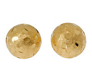 Veronese 18K Clad 12mm Textured & Diamond Cut Button Earrings - J302283
