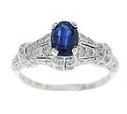 0.70 ct Sapphire & 1/2 ct tw Diamond Ring, 14KWhite Gold - J304783