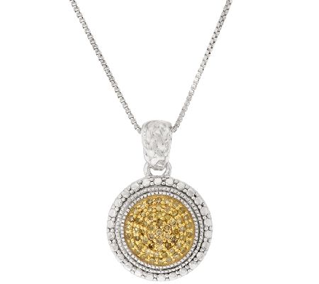 color diamond round pave 39 pendant w chain sterling by