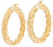 Bronze 1-1/2 Twisted Round Hoop Earrings by Bronzo Italia - J317683