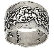 Sterling Silver Hammered & Lace Design Ring by Or Paz - J319783